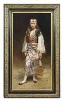 Portrait of a girl standing full-length in Turkish costume