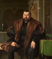 Portrait of Sigismund Baldinger (1510-1558), three-quarter-length, seated, in a black satin doublet and a fur-lined black mantle, holding gloves, at a draped table